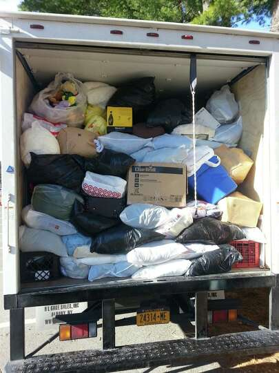 One of two 24-foot trucks filled during the town of Bethlehem's Textile Collection event at the Beth
