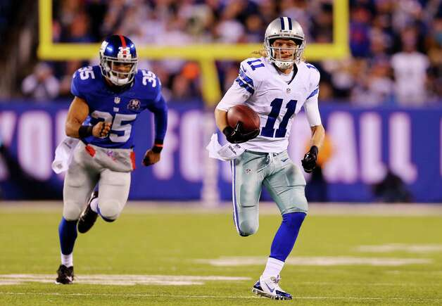 EAST RUTHERFORD, NJ - NOVEMBER 23:  Cole Beasley #11 of the Dallas Cowboys carries a reception in for a 45 yard touchdown in the third quarter against the New York Giants at MetLife Stadium on November 23, 2014 in East Rutherford, New Jersey.  (Photo by Elsa/Getty Images) ORG XMIT: 507869247 Photo: Elsa / 2014 Getty Images