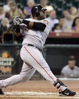 Pablo Sandoval in 2008, his first year in the Major Leagues. He signed a contract with the Giants after he was scouted in the Dominican Republic in 2002.
