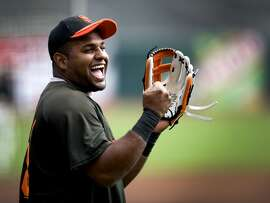 Pablo Sandoval is all smiles during batting practice as the San Francisco Giants take on the San Diego Padres at AT&T Park on Saturday.