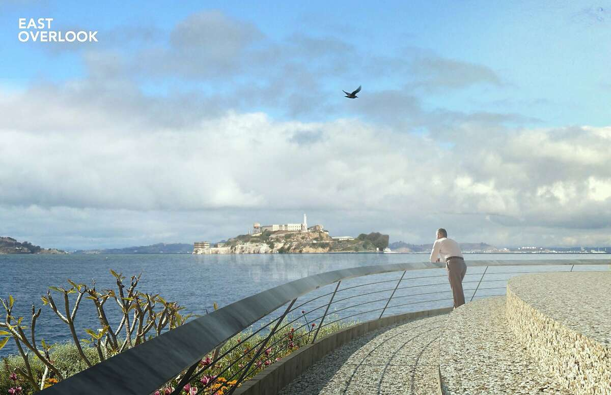 The design concept from James Corner Field Operations for the new park between the Presidio's Main Post and Crissy Field includes a traditionally styled overlook facing Alcatraz. Four other teams are in the competition, and the Presidio Trust is expected to select a winner in December.