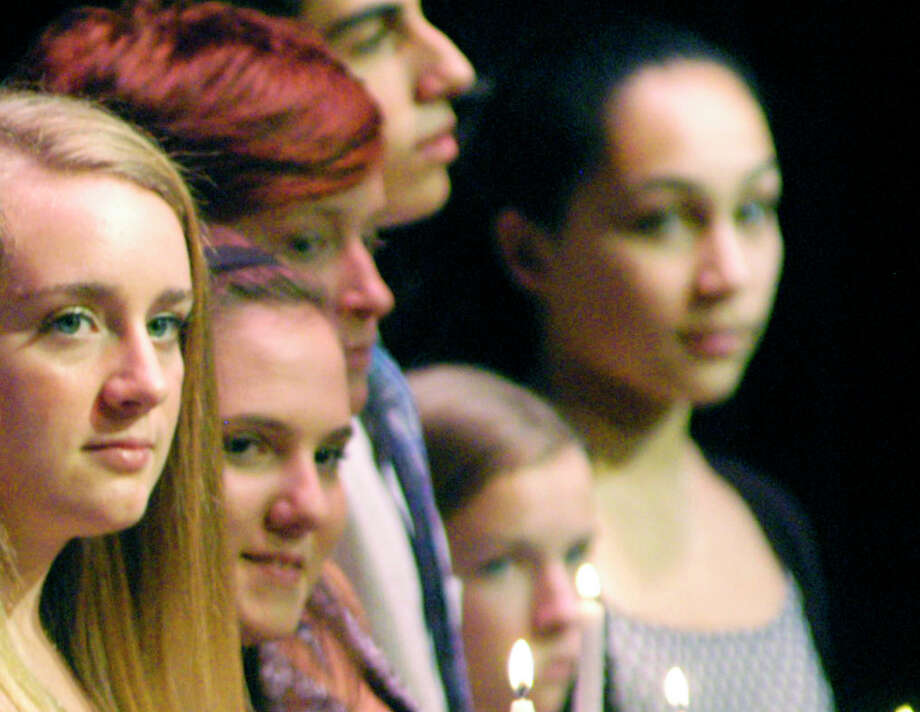 Sharing the moment as members of the New Milford High School chapter of the National Honor Society are, from left to right, Alison Bailey, Kathryn Antonelli, Annie Robbins, Lawrence Andrea, Heather Adams and Brianna Adams. Oct. 20, 2014 Photo: Norm Cummings / The News-Times