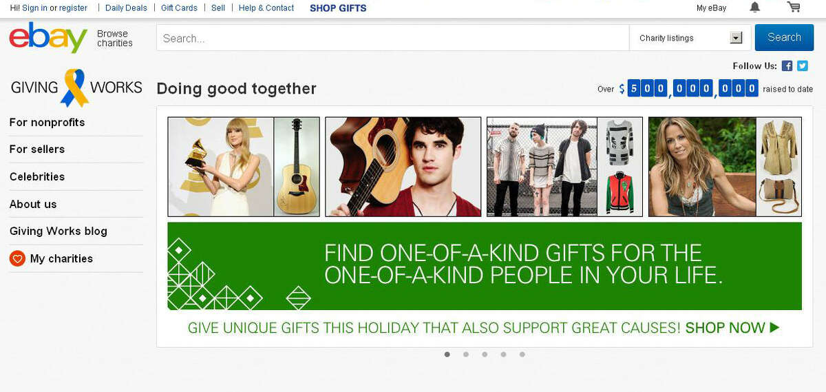eBay Giving Works (givingworks.ebay.com) works on eBay to donate a portion or even all of a purchase price to numerous causes.