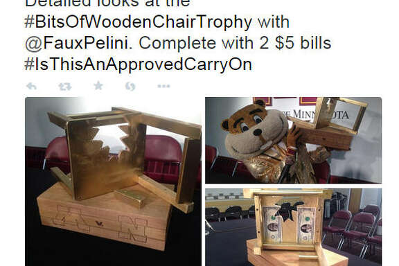 "The Minnesota Golden Gophers and Nebraska Cornhuskers faced off for the ""Bits of Wooden Chair Trophy,"" which is shown in this Twitter image from  @GoldytheGopher ."