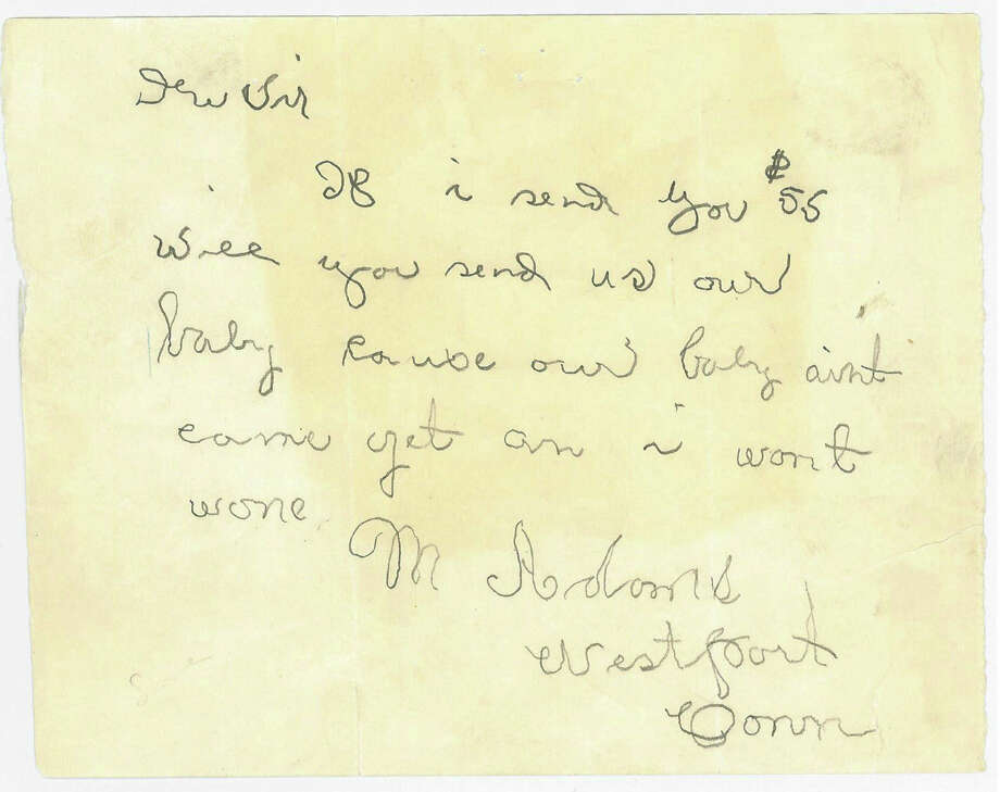 The original 1932 letter sent to a Chicago hospital asking for a baby. Just who wrote it is a mystery. Photo: Contributed Photo / westport news