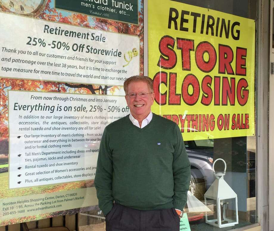 Edward Tunick is planning to retire and close his store, Edward Tunick-Menís Clothier, at the Noroton Heights Shopping Center after nearly four decades. Photo: Contributed Photo / Darien News