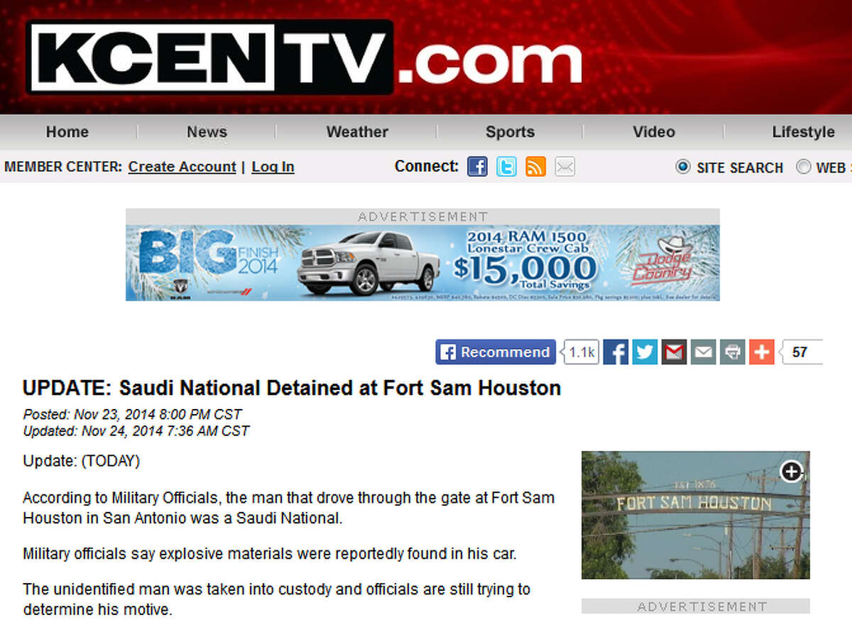 Outlets, including KCEN-TV in Central Texas, have reported the man arrested at Fort Sam Houston Sunday night is a Saudi national.