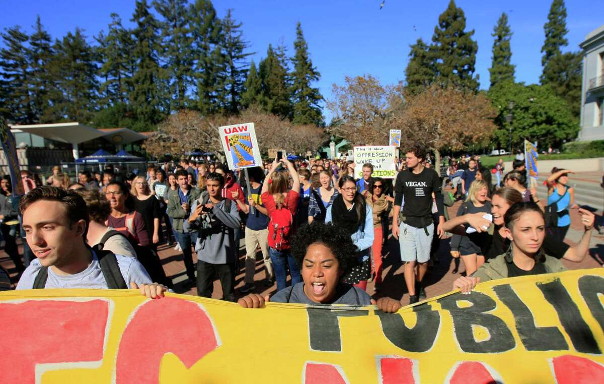 Students at UC Berkeley march in protest of recently approved UC tuition increases. Students at most of UC's 10 campuses walked out.