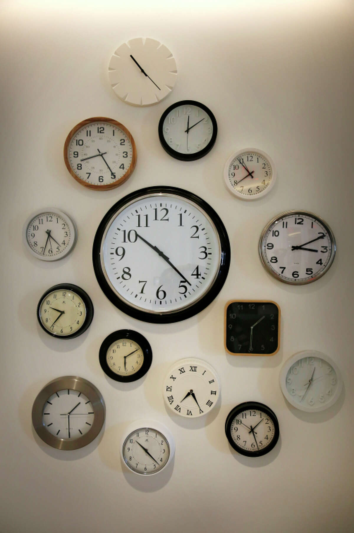 A variety of clocks decorate a wall at the Trulia offices, designed to avoid traditional, old-fashioned corporate decor conventions.
