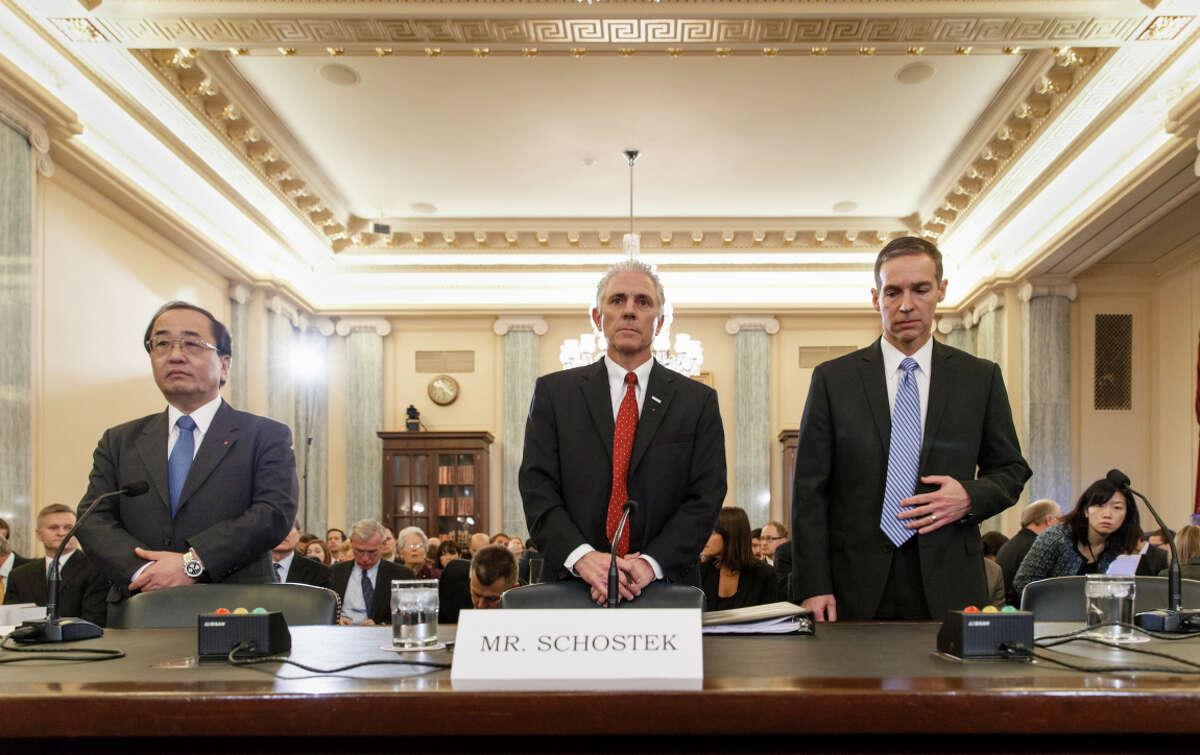 Takata's Hiroshi Shimizu (left), Honda's Rick Schostek and Chrysler's Scott Kunselman testify before the Senate Commerce Committee last week.