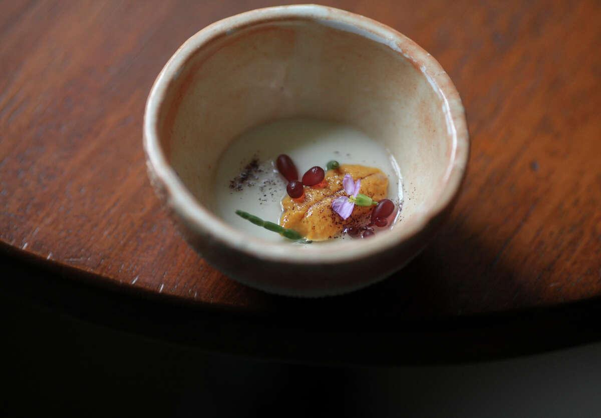 Milk, sea urchin, beach mustard, shiso, and sea beans at Auberge in Carmel.