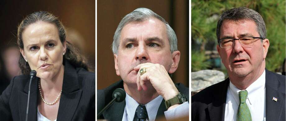 Possible defense secretary choices: Michele Flournoy (from left), Sen. Jack Reed and Ashton Carter, former deputy secretary of defense. Reed isn't interested in the job, a spokesman said Monday. Photo: FILES / AFP/Getty Images / AFP