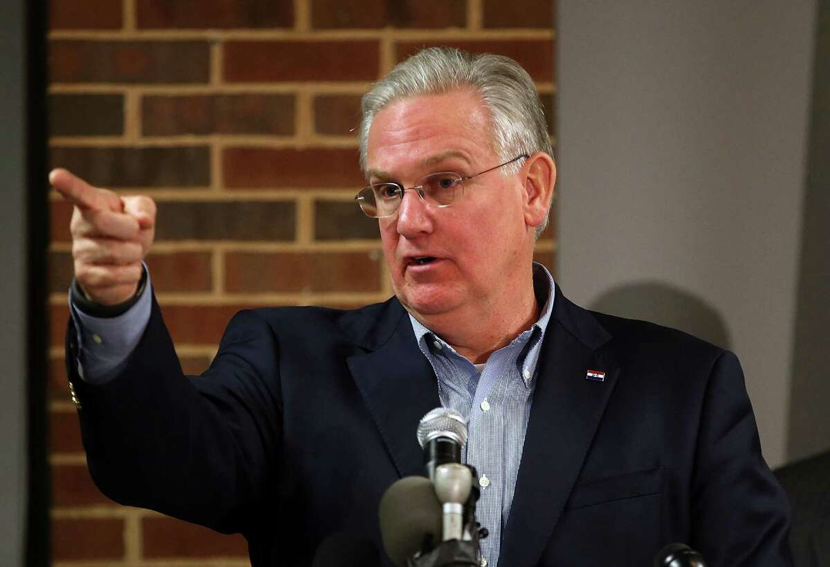 ST. LOUIS, MO - NOVEMBER 24: Missouri Gov. Jay Nixon speaks during a news conference at the University of Missouri - St. Louis on November 24, 2014 in St. Louis, Missouri. Nixon pleaded for calm in the community as a St. Louis County grand jury has reached a decision on whether or not to charge Officer Darren Wilson in the shooting of Michael Brown that sparked riots in Ferguson, Missouri in August. (Photo by Justin Sullivan/Getty Images)