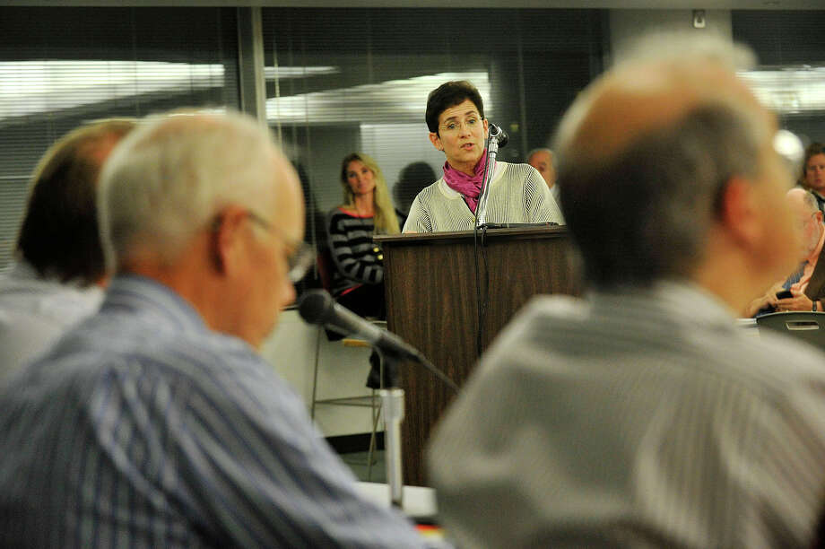Annie Taylor speaks during the public hearing in front of the Zoning Board on the proposed redevelopment of the Stamford train station parking garage at the Stamford Government Center in Stamford, Conn., on Monday, Nov. 24, 2014. The state Department of Transportation picked John McClutchy to develop the current train station parking garage into a $500 million, 1 million square feet mixed-use property. Many speakers were concerned about the low number of spaces, safety and the distance commuters must travel from their parking spaces to the train platform. Photo: Jason Rearick / Stamford Advocate