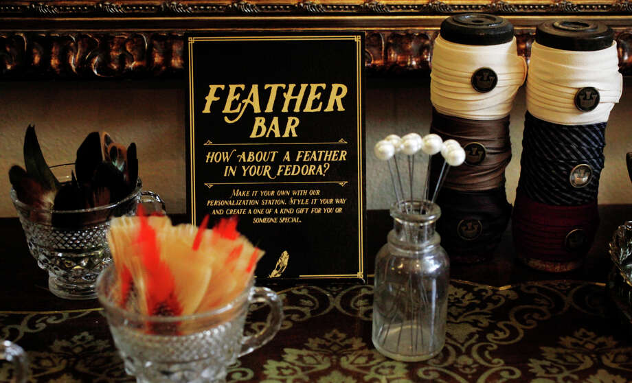 Feathers, hatpins and removable hat bands at the Feather Bar at Goorin Bros., which customers can buy to accessorize their hats. Photo: Lea Suzuki / The Chronicle / ONLINE_YES