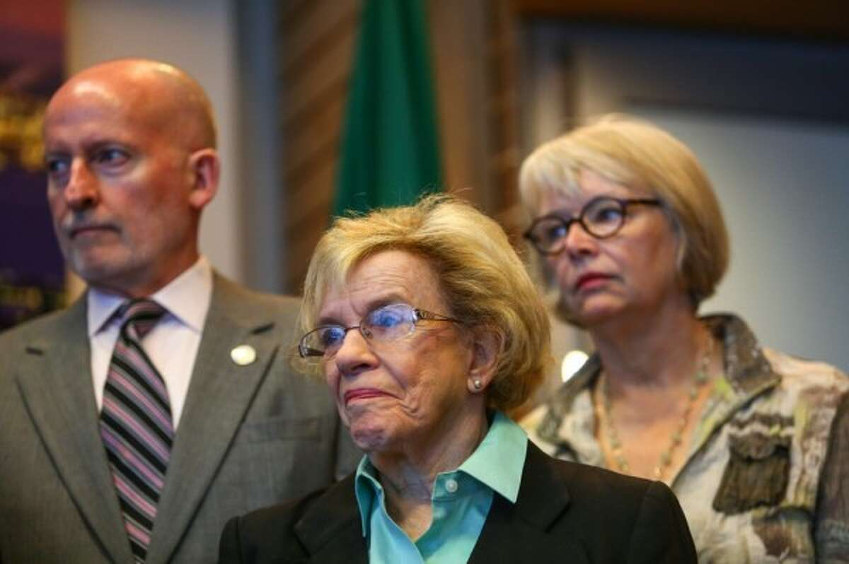 City Council members Tim Burgess (l), Jean Godden (c) and Sally Bagshaw (r). After a brief stint as Mayor, Burgess retired in 2017. Godden lost her reelection bid in 2015. Bagshaw is retiring this year.