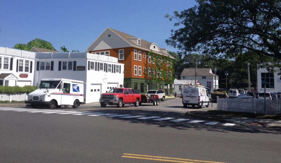 This is what a 3-story, mixed-used building proposed by 3M Capital Trust LLC would look like on Cross Street in New Canaan, Conn., as seen from the Cherry Street intersection. Photo: Contributed Photo, Contributed / New Canaan News Contributed