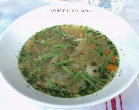 Monsieur Benjamin: Intense chicken vegetable soup with wild rice and sprouted grains clipped to order.