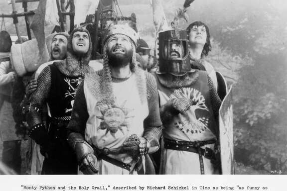"""Eric Idle, from left, John Cleese, Graham Chapman, Terry Jones and Michael Palin star in """"Monty Python and the Holy Grail."""""""
