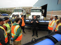 Bridgeport Director of Public Facilities Jorge Garcia instructs plow truck drivers in preparation for Wednesday's expected snowfall at the Public Facilities garage at 581 N. Washington Avenue in Bridgeport, Conn. on Tuesday, November 25, 2014.