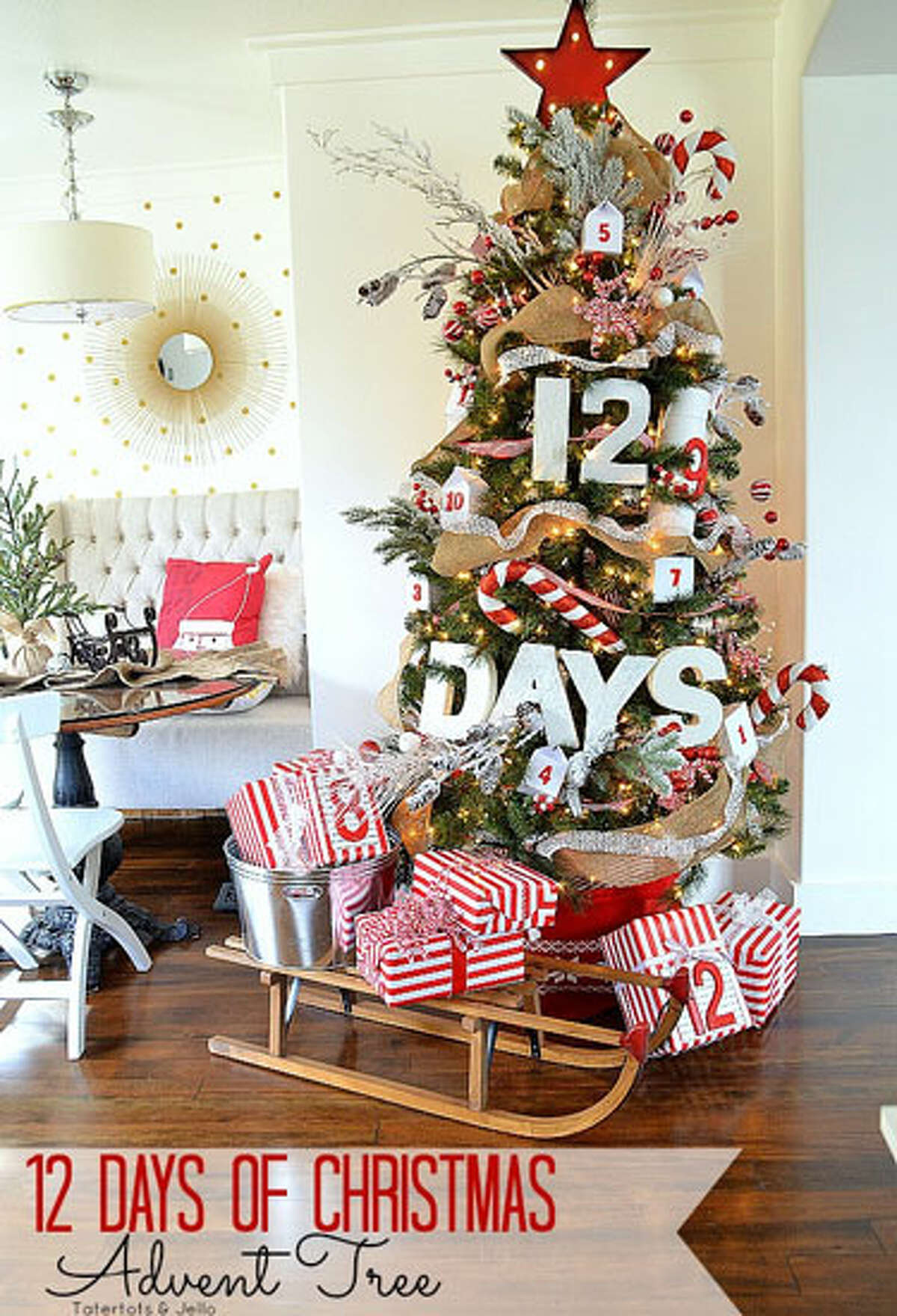 Advent Tree Blogger Jennifer Hadfield put a spin on a traditional advent calendar by boldly displaying numbers around her tree on boxes, containers, and packages. Topping it off is a a red star marquee she found at Michaels. See more at Tatertots and Jello. 20 Magical Ways to Use Mason Jars This Christmas50 Houses Under $50,00017 Lovely Pinecone Crafts for Holiday DecoratingThe Ultimate Guide to Kitchen DesignPeek Inside 22 Homes, All Decked out for ChristmasBefore and After: Restoring an 1860 Farmhouse