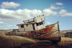 An abandoned boat in the Marin County town of Inverness in 2014.