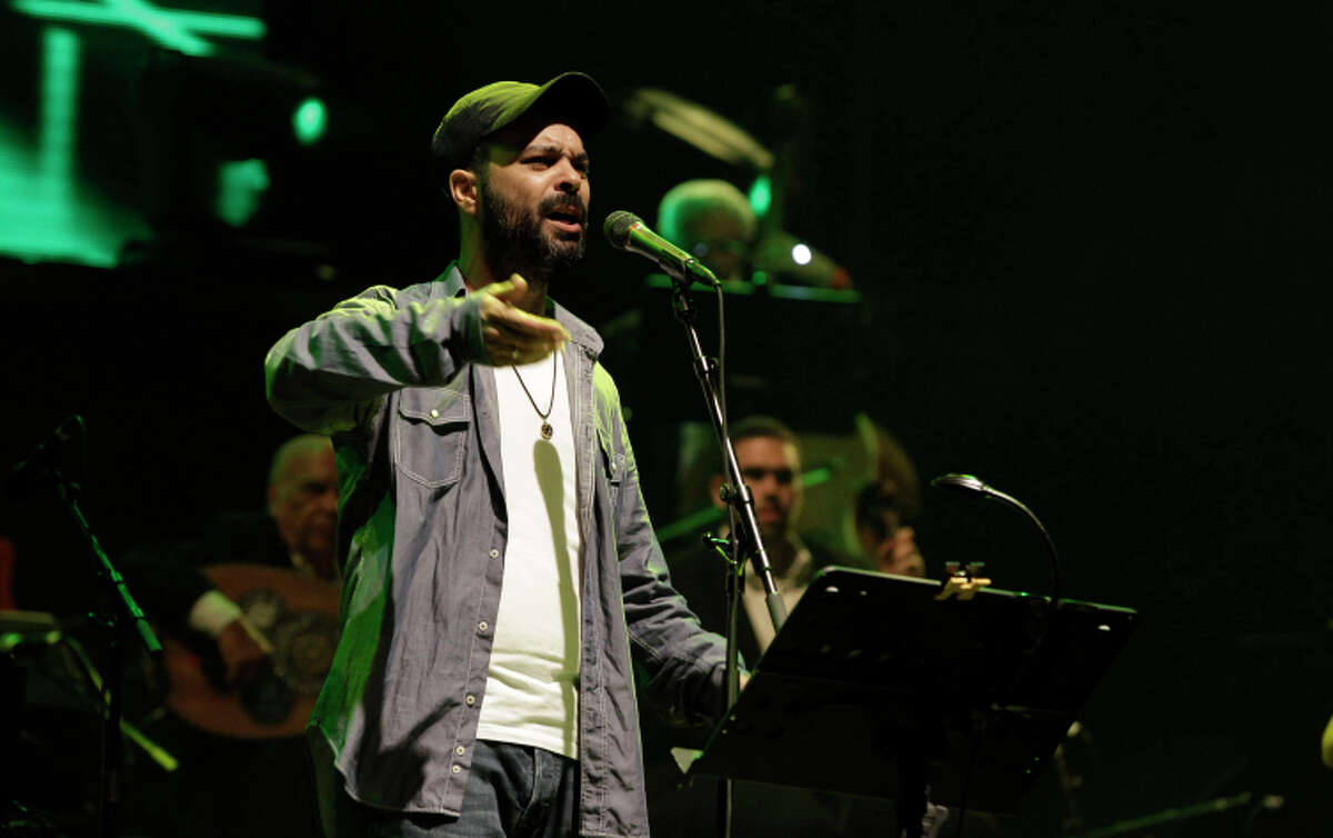 Israeli singer-songwriter Amir Benayoun during a recent concert at the port city of Ashdod, Israel.