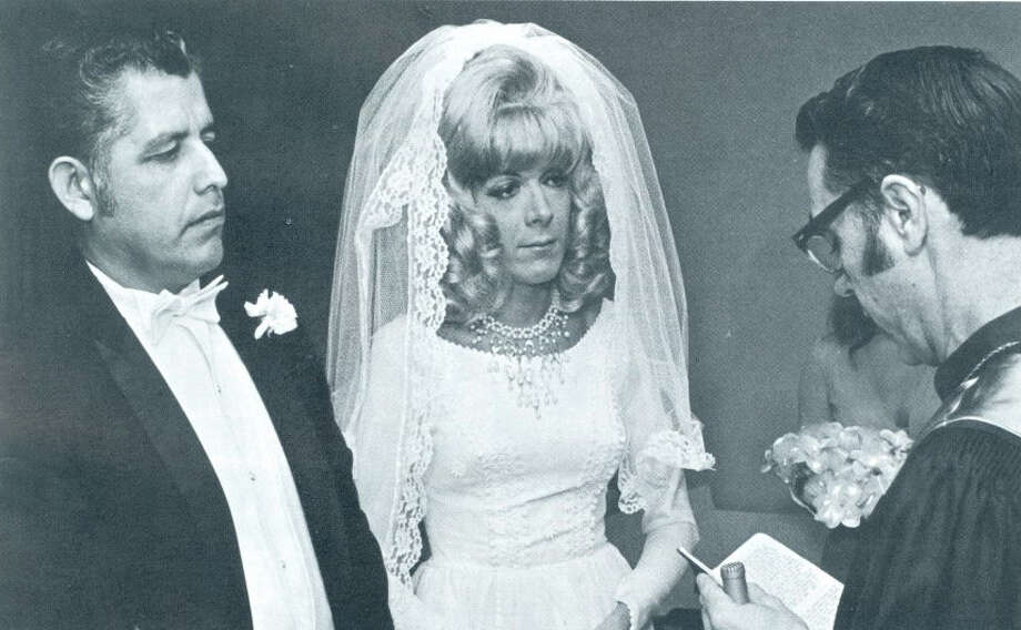 """On Oct. 6, 1972, Mr. Antonio Molina, left, and Mr. William """"Billie"""" Ert were married in Texas' first record same-sex marriage. Rev. Richard Vincent of the Dallas Metropolitan Community Church officiated the event for Molina, a former high school linebacker and Navy veteran from Brownsville, and Ert, a female impersonator and nightclub performer. Photo: Universal Entertainment Agency / handout"""