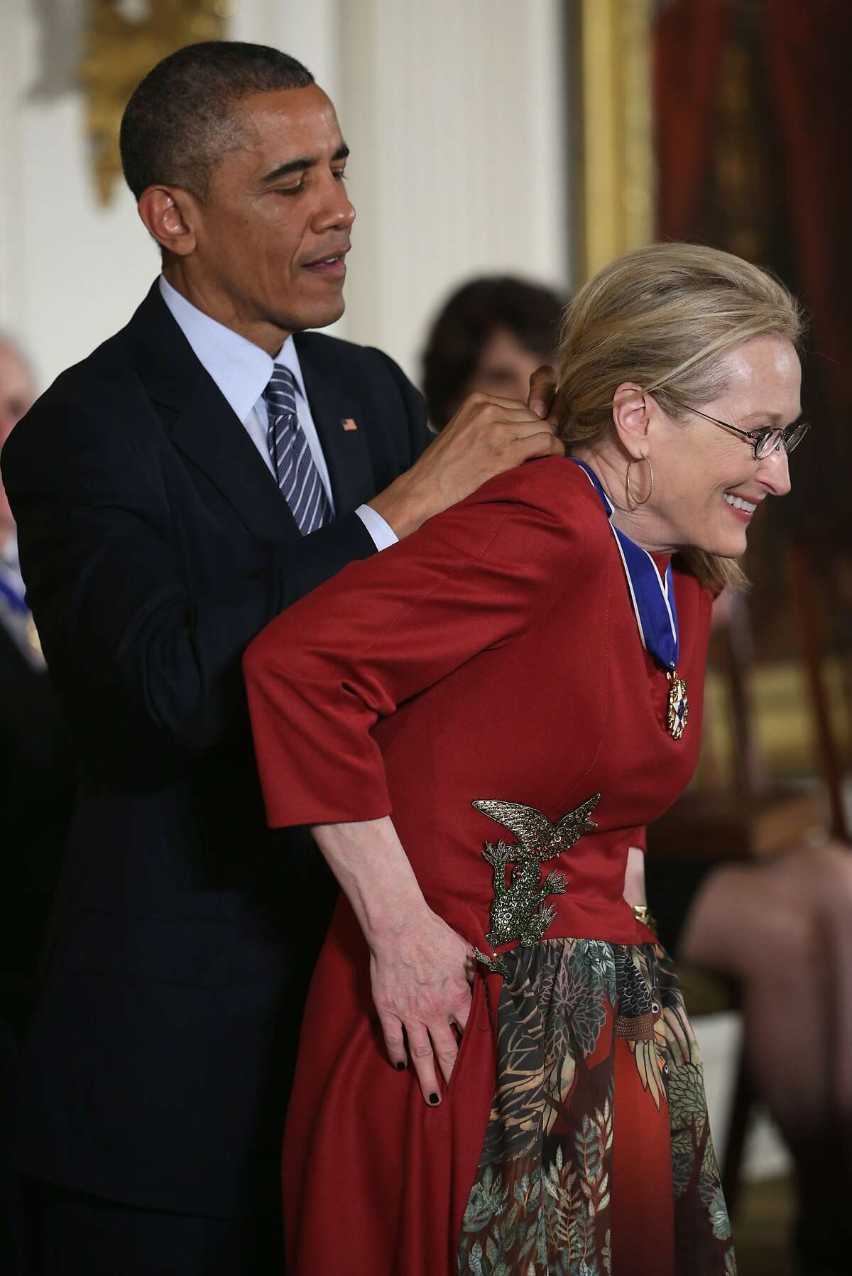 ROLE MODEL: President Obama places the Presidential Medal of Freedom on actress Meryl Streep during an East Room ceremony at the White House. The Presidential Medal of Freedom is the nation's highest civilian honor.
