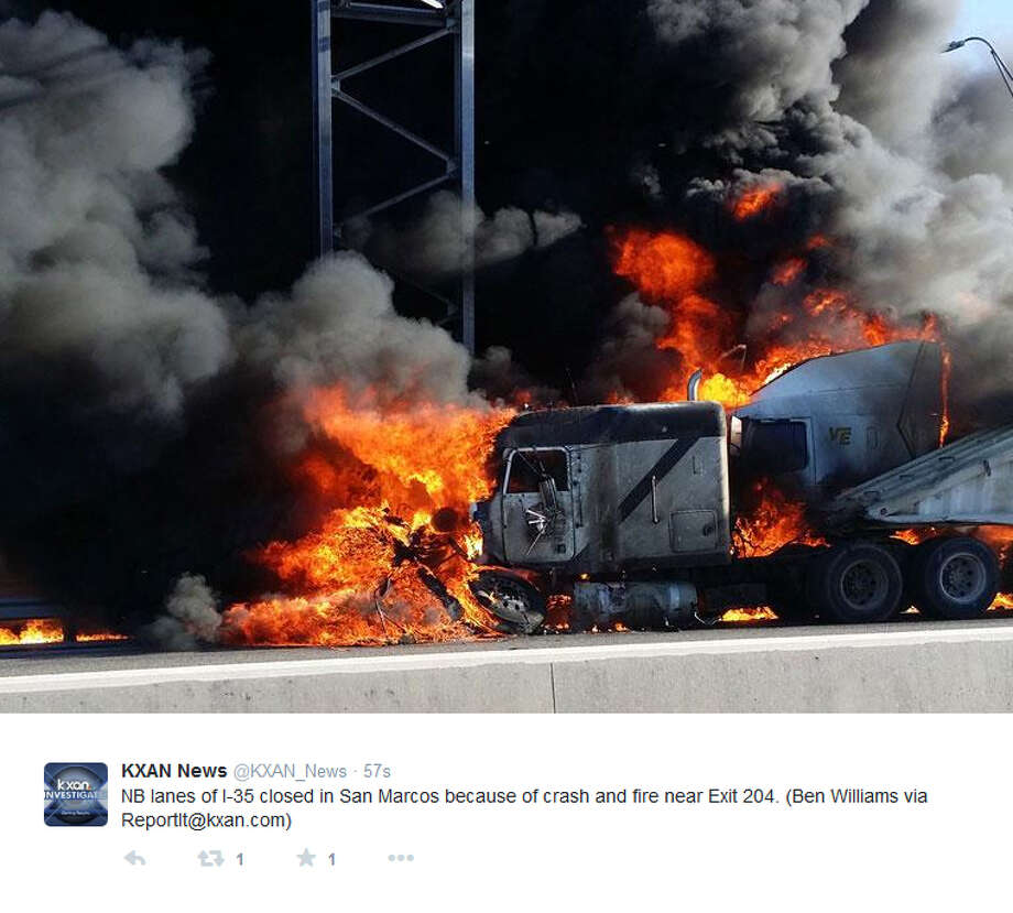A vehicle fire on Interstate 35 in San Marcos was holding up traffic for commuters on Tuesday afternoon, Nov. 25, 2014. Photo: KXAN News