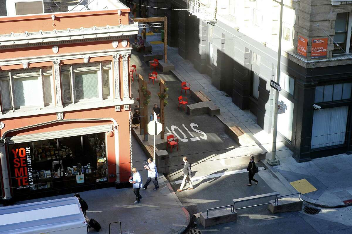 The newly designed, pedestrian friendly plaza on Annie Street in San Francisco CA, on Monday, November 24, 2014.