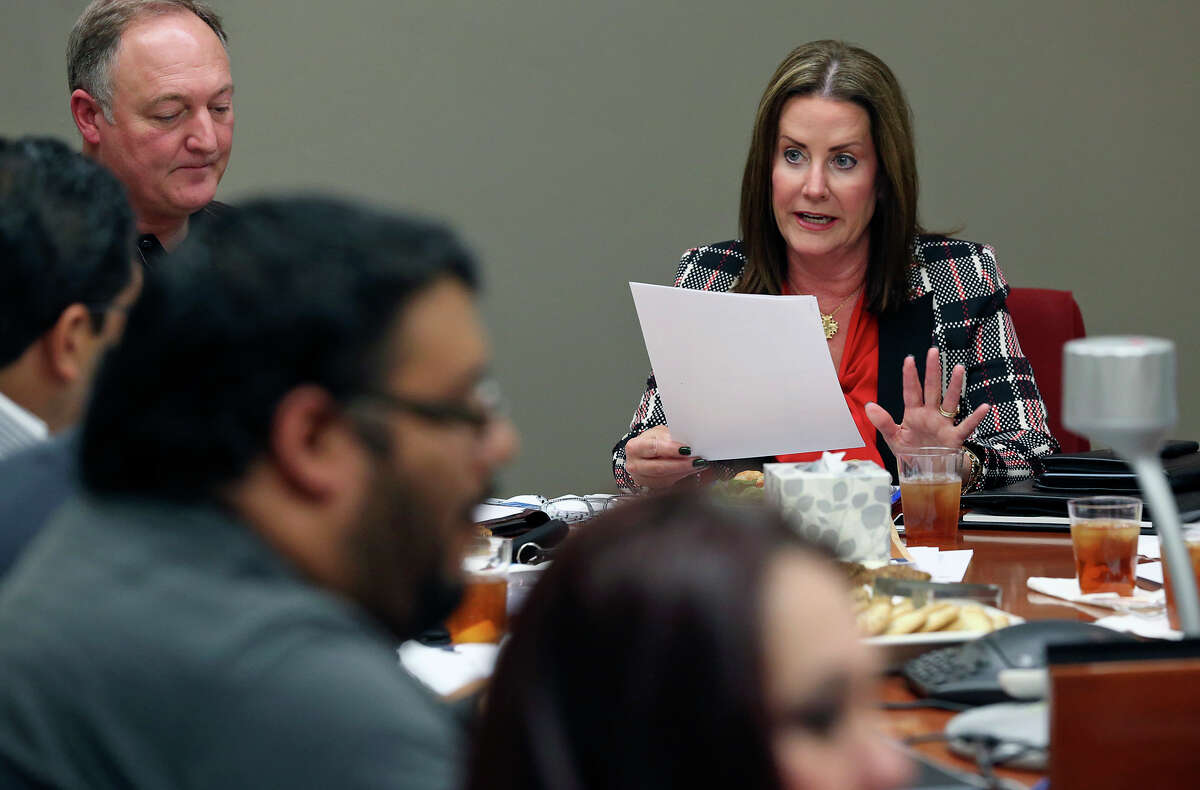 Mary Jo Grundhoefer serves on the board of the nonprofit Hope for the Future board meeting on October 30, 2014.