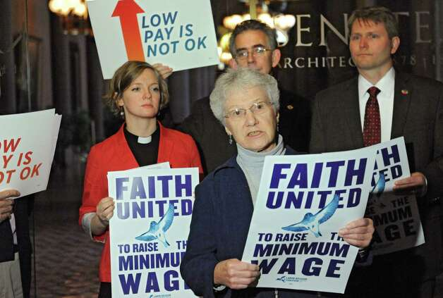 Sister Doreen Glynn of Sisters of St. Joseph speaks as community, faith and labor leaders advocate for raising the minimum wage for workers in New York State at the Capitol on Tuesday, Nov. 25, 2014 in Albany, N.Y.  (Lori Van Buren / Times Union) Photo: Lori Van Buren / 00029623A