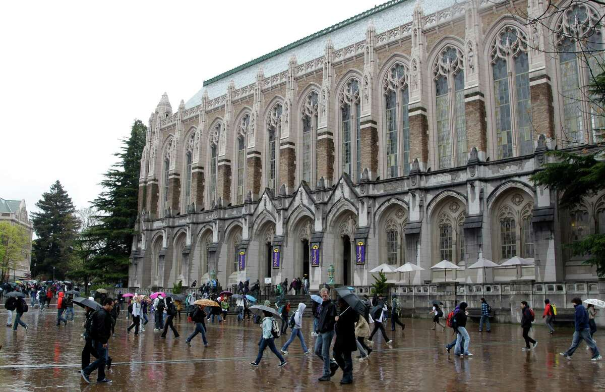 UW students and alumni should recognize this familiar sight of Suzzallo Library in the rain.