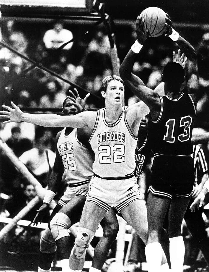 Before he played for the Sonics, Detlef Schrempf, No. 22, was a forward for the Huskies. He's pictured in 1983 during a game at Hec Ed.  Photo: Collegiate Images, Getty Images / 2013 University of Washington