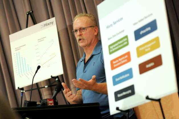 Jay Stearns of Rotterdam talks about his father, Willard Stearns, accessing health records through the Hixny portal during  a news conference on Tuesday, Nov. 25, 2014, at Ellis Hospital in Schenectady, N.Y. (Cindy Schultz / Times Union) Photo: Cindy Schultz / 00029625A