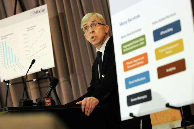 Chief medical officer David Liebers M.D. talks about patients accessing health records through the Hixny portal during  a news conference on Tuesday, Nov. 25, 2014, at Ellis Hospital in Schenectady, N.Y. (Cindy Schultz / Times Union) Photo: Cindy Schultz / 00029625A