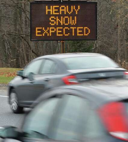 A traffic warning sign on Albany Shaker Road opposite Albany International Airport Tuesday Nov. 25, 2014, in Colonie, NY.  (John Carl D'Annibale / Times Union) Photo: John Carl D'Annibale / 00029624A