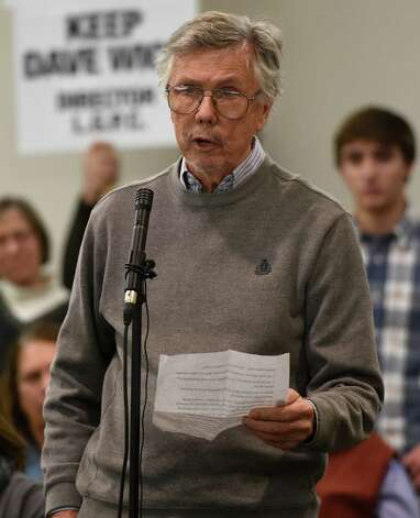 Peter Collins, a private citizen speaks in support of Dave Wick during an overflow turnout in to the conference room at the Fort William Henry Conference Center Tuesday morning Nov. 25, 2014  in Lake George, N.Y.  for a meeting of the Lake George Park Commission.  Wick, Executive Director of the Lake George Park Commission was put on paid leave recently much to the dismay of most all of the attendees to this commission meeting.  (Skip Dickstein/Times Union) Photo: SKIP DICKSTEIN / 00029607A