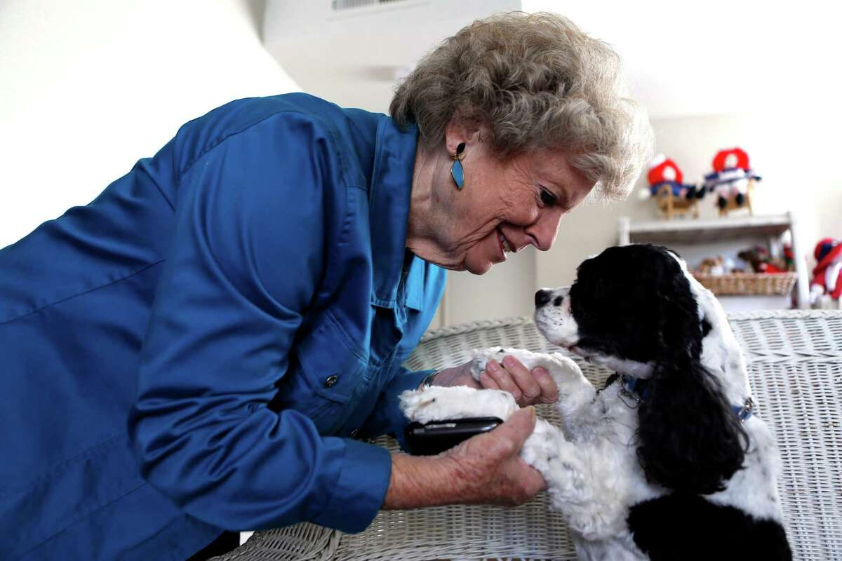 Betty Grant was displaced from her mobile home in the wake of the Napa earthquake this summer. Grant and her dog Penny are currently living in a temporary residence in Napa, Calif., on Tuesday, November 25, 2014.