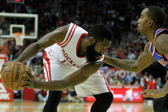 The Knicks' J.R. Smith, right, finds himself in the unenviable position of being isolated against James Harden.