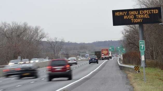 An ominous sign is posted on I-787 in anticipation of a storm on Wednesday, Nov. 26, 2014. (Skip Dickstein/Times Union)
