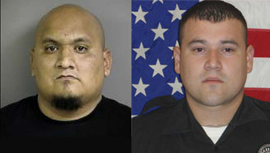 "Ruben ""Menace"" Reyes (left) is charged with ordering the killing of slain Balcones Heights police officer Julian Pesina (right)."