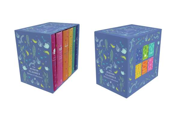 "This product image released by Puffin Classics shows the Puffin classic box set including classics ""A Little Princess,"" ""Anne of Green Gables,"" ""The Adventures of Huckleberry Finn,"" ""The Secret Garden,"" ""The Wind in the Willows"" and ""Peter Pan."" (AP Photo/Puffin Classics)"