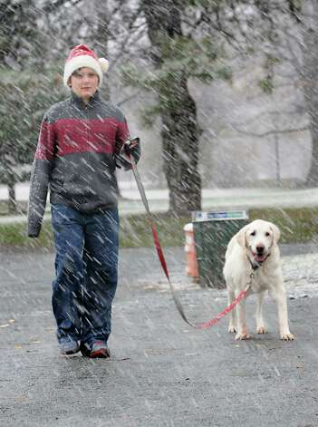 Reagan Lyon, 11, of Glens Falls walks his dog Alistair after  a Christmas card shoot with his family in Washington Park during a snow storm on Wednesday, Nov. 26, 2014 in Albany, N.Y. The family from Glens Falls was trying out a new location to take their Christmas card photos.  (Lori Van Buren / Times Union) Photo: Lori Van Buren / 00029647A