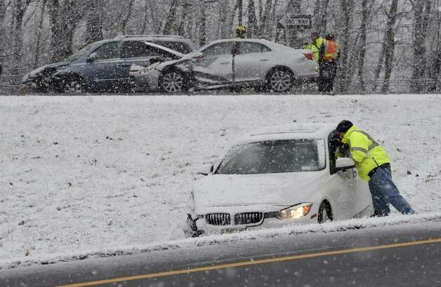 A multi-car accident slowed traffic on Route 9 northbound just west of Exit 13 on the Northway on Wednesday, Nov. 26, 2014. Police reported no serious injuries. (Skip Dickstein /Times Union)