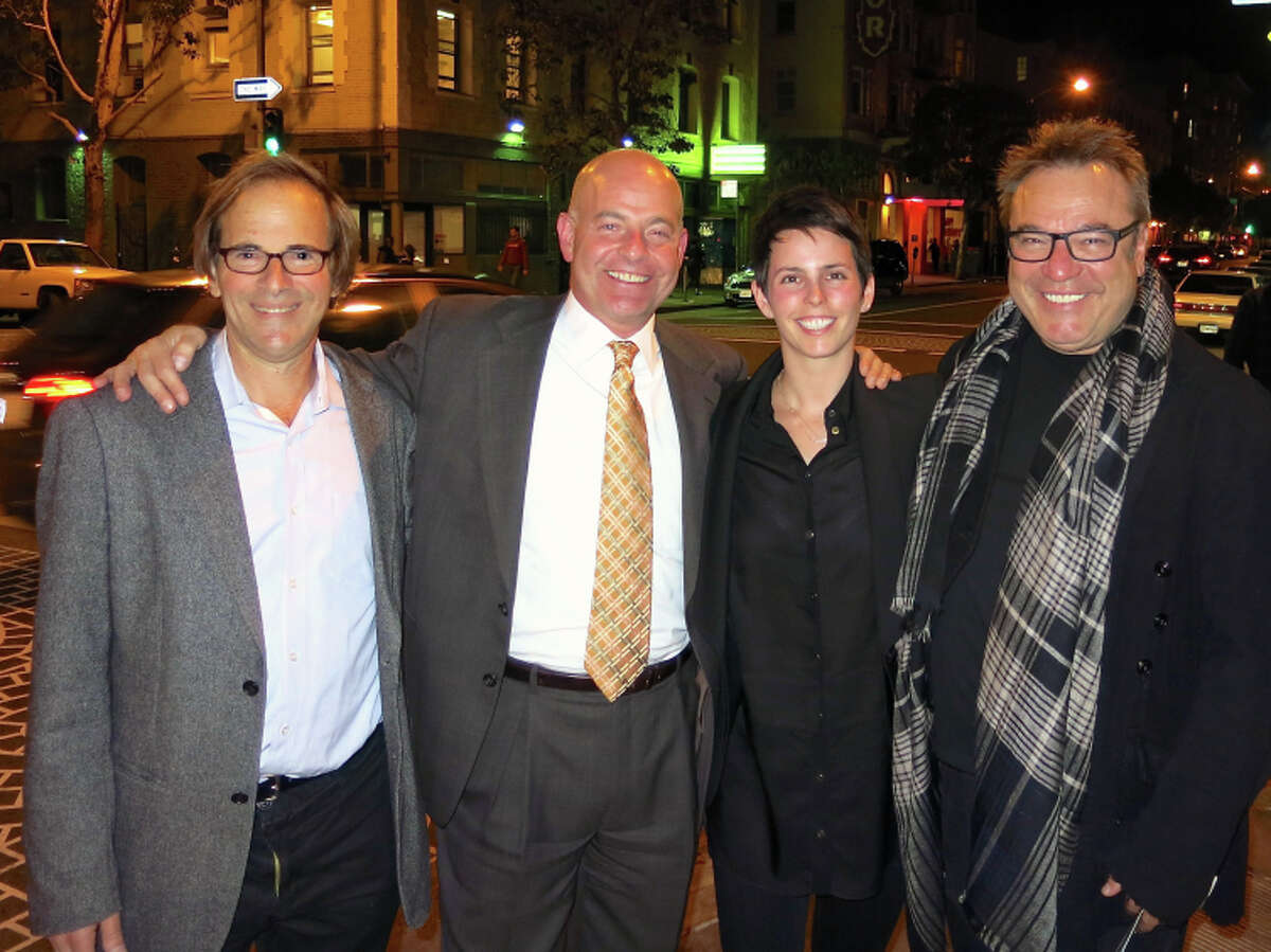 Randy Shaw (at left) with Saint Francis Foundation President Kevin Causey, gallerist Jessica Silverman and designer Stanlee Gatti celebrate the Tenderloin Museum.