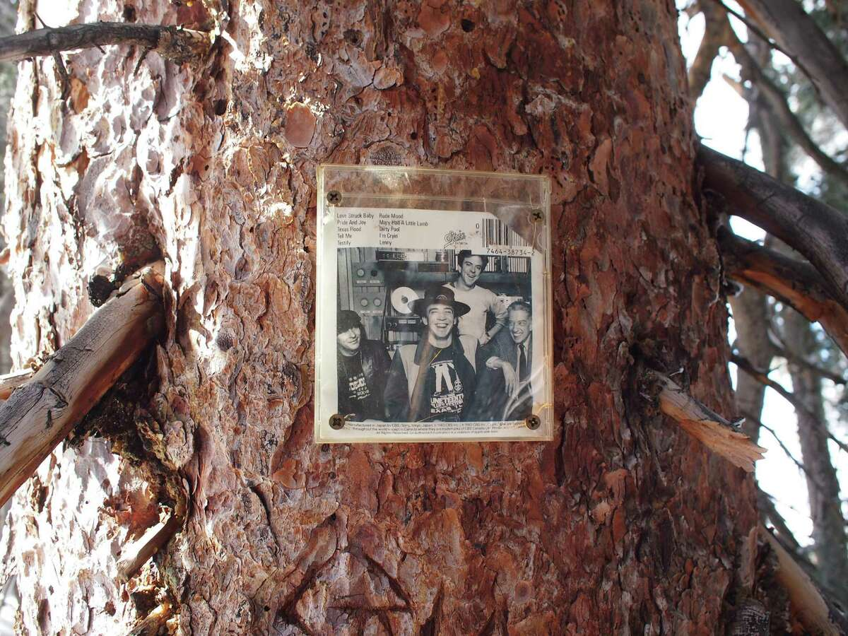 Among the shrines hidden around Aspen, a photo of Texas musician Stevie Ray Vaughan is tucked in the trees on Ajax Mountain.