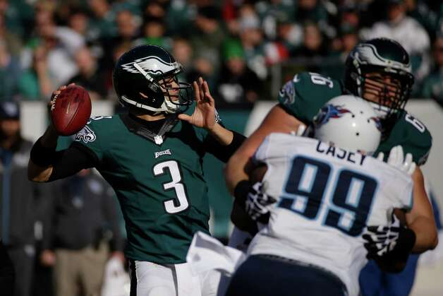 Philadelphia Eagles' Mark Sanchez looks to pass during the first half of an NFL football game against the Tennessee Titans, Sunday, Nov. 23, 2014, in Philadelphia. (AP Photo/Michael Perez) ORG XMIT: PXE106 Photo: Michael Perez / FR168006 AP