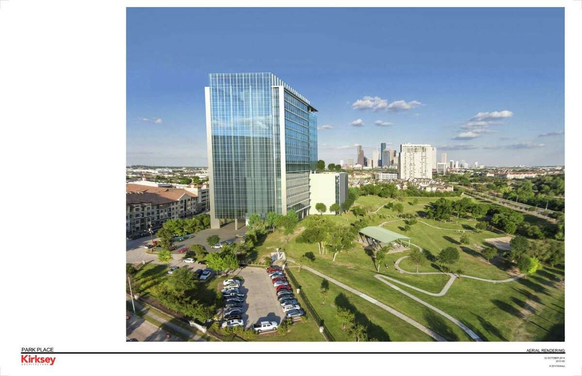 A rendering of Park Place at Buffalo Bayou, an office building under construction near Memorial and Waugh.